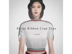 [CALEB] AF Stripe Ribbon Crop Tops - The Sims 4 Download - SimsDom