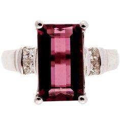 Natural Pink Tourmaline Diamond White Gold Ring 1