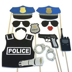 Photo Booth Props- Police Themed- Photo Booth Props with Glitter - children birthday party Police Retirement Party, Police Wedding, Retirement Parties, Grad Parties, Photos Booth, Photo Booth Props, Cop Party, Party Mottos, Cadeau Surprise