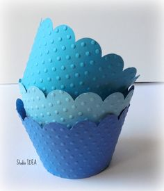 Mixed Blue Polka Dots Embossed Cupcake Wrappers, Liners, Table Decoration-Set of 12 pcs - pinned by pin4etsy.com