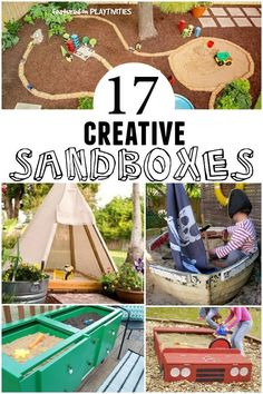 20 Creative DIY Sandbox Ideas - Backyard Activites ideas- PLAYTIVITIES - Think outside of the sandbox—turn a teepee, car or boat into a backyard play space. Backyard Play Spaces, Outdoor Play Spaces, Kids Outdoor Play, Kids Play Area, Backyard Playground, Backyard For Kids, Outdoor Fun, Diy For Kids, Desert Backyard