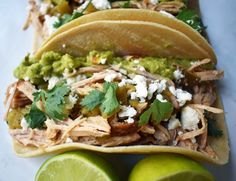 Green Chili Pork Carnitas Tacos. Slow cooked green chili pork seasoned with Mexican spices and freshly squeezed lime juice placed in a hot corn tortilla and topped with cotija cheese, jalapenos, avocado and cilantro. www.modernhoney.com Pork Recipes, Lunch Recipes, Cooker Recipes, Green Chili Pork, Pork Carnitas Tacos, Mexican Salsa Recipes, Pork Seasoning, Hot Corn, Shredded Chicken Tacos