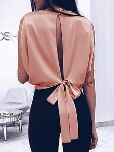 Laipelar 2019 Spring Women Fashion Alluring Elegant Party Shirt Female Sleeveless Solid Slit Knotted Back Casual Blouse Look Fashion, Fashion Outfits, Womens Fashion, Fashion Design, Fashion Tips, Fashion Trends, Fashion Ideas, Fashion 2018, Classy Fashion
