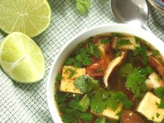 This refreshing Thai lemongrass soup is made with a light gingery broth, pan-fried tofu, cherry tomatoes and fresh cilantro.