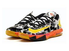 b365e7134d32 Nike KD 6 MVP Pas Cher Noir Blanc Jaune Orange - NikeBasketballfr.