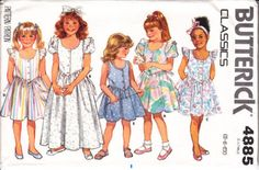 Butterick 4885 Child's Basque-waist Dress Sewing Pattern 5-6X Uncut