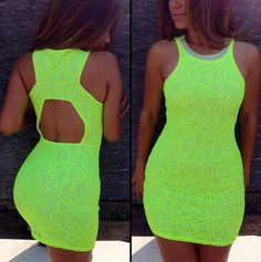 high necklines and neon Neon Outfits, Neon Dresses, Cute Dresses, Beautiful Dresses, Casual Dresses, Cute Outfits, Vegas Dresses, Short Dresses, Clubbing Outfits