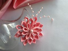 Hair Clip  Pink Kanzashi Flower with Pearls   by LihiniCreations, $15.00