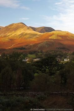 Lake District hills in autumn sunlight, Buttermere, Cumbria, England, UK