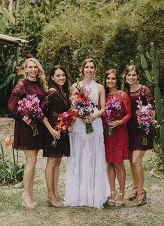 maroon bridesmaids