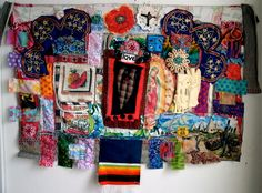 MEXICAN Altar SHRINE Folk ART Textile Assemblage Collage.