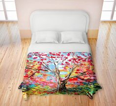 Duvet Cover collaboration between Aja and DiaNoche Designs, King, Queen, Twin, Toddler, Story of a Tree 59 on Etsy, $139.00