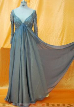 Grey Dresses for Large Women | ... layer V-Neck Plus Size Custom Made Chiffon Evening Dress With Sleeves