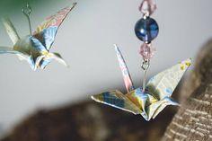 Origami bijoux - crane - gru giapponese - etsy - compra online - artigianato giapponese - kimono - carta tradizionale