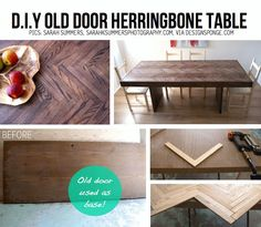 DIY Old Door Herringnone Table