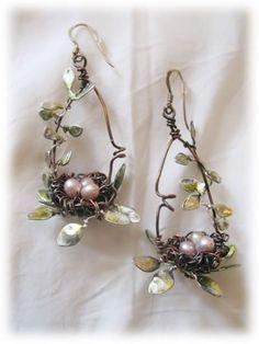 绕线 铜线手工饰品 diy 鸟巢耳环
