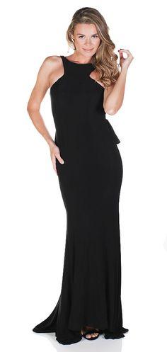 Jasz Couture 5758 Ruffled Open Evening Gown $75 Rental Black Gown, Open Back Gown, Low Back Gown, Black Prom Dress, Ruffle Dress, Glamorous Gown