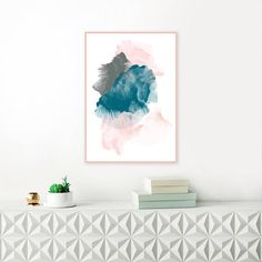 A striking modern art print with beautiful teal and blush pink tones, perfect for your beautiful home. This abstract painting will create a soothing focal point in your home, and complement your modern interior perfectly. Please Note: ************* This listing is for a DIGITAL