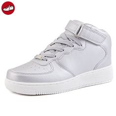 [Present:kleines Handtuch]Silber EU 41, Sneaker Top Damen Weiß für USB LED Sport 7 Leuchtend High Lackleder weise Sportschuhe Aufladen 43 Farbe Größe Schuhe JUNGLEST® Turn