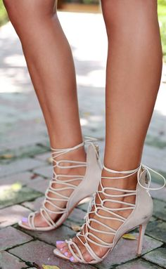 nude lace up sandals from Schutz