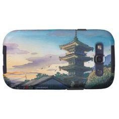 Kyoraku attractions Nomura Yasaka pagoda sunshine Galaxy S3 Case #Kyoraku #Yasaka #pagoda #shrine #sunshine #kyoto #scenery #hanga #gift #accessory #customizable #Japan #japanese #oriental #village