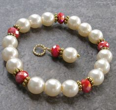 Ivory Pearl and Red Crystal Stretch Bracelet & Matching Pendant by DesignsbyCher
