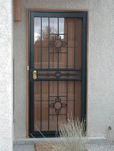 paint for outside security door gate Security Storm Doors, Wrought Iron Security Doors, Steel Security Doors, Security Gates, Security Screen, Grill Gate Design, Window Grill Design, Door Gate Design, Main Door Design