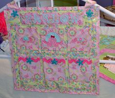 Stitched, laminated and embroidered bed hanger. As seen in Quilter's Newsletter - Best Kids Quilts - Spring 2015 Embroidered Bedding, Spring 2015, Sweet Dreams, Cool Kids, Hanger, Quilts, Stitch, Blanket, Writing
