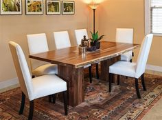 Rio Vista Trestle Dining Set. Live edge wood and sleek Parsons chairs. #DutchCrafters