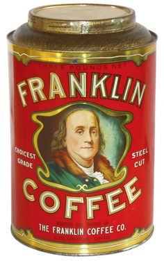 Country store coffee tin, Franklin Coffee 3# w/Ben : Lot 738
