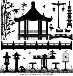 Garden Park Outdoor Recreational Asian Chinese Japanese - stock vector
