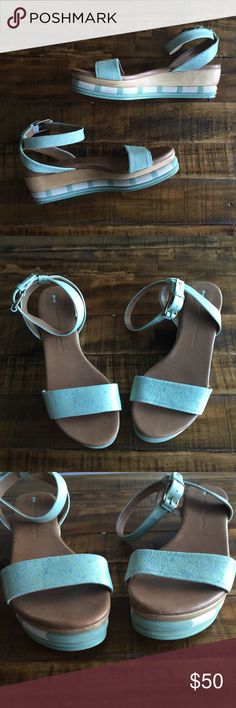 Anthropologie Schuler & Sons Philadelphia Wedge Mint strappy leather sling back sandals. Great for Spring/Summer. Great condition! Anthropologie Shoes Wedges