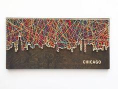 Chicago Skyline String kunst van CactusCustomDesigns op Etsy