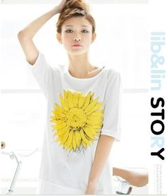 White Cotton Fashion Sunflower T-Shirt