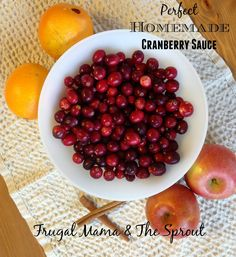Frugal Mama & The Sprout: Perfect Homemade Cranberry Sauce. This is an easy recipe that you can make ahead and freeze for later ~ So yummy!
