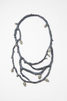 """Raduga Buds 4"", necklace, 2014. Wood, graffiti, silver, steel wire. Photo: Mirei Takeuchi"
