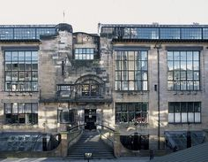 The entrance of The Glasgow School of Art, designed by Charles Rennie Mackintosh and built between 1897 and 1909.
