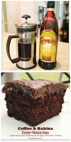 Coffee & Kahlúa Crazy/Wacky Cake! (no eggs, milk, butter or bowls) Moist & delicious. So simple. So good. Chocolate, Vanilla, Spiced & Lemon flavors too.