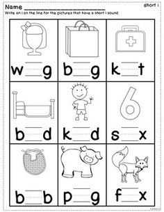 Short Vowel Practice Worksheets by Kathleen G's Kindergarten Vowel Worksheets, Kindergarten Math Worksheets, Reading Worksheets, Homeschool Kindergarten, Preschool Lessons, Kindergarten Reading, Preschool Learning, Homeschooling, Reading Activities