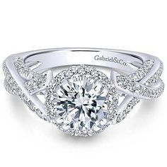 "Gabriel ""Infinity"" 14K White Gold Round Halo Diamond Engagement Ring"