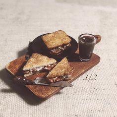 #polymerclay #miniature #realistic #fakefood #miniaturefood #sandwich #cheese #bacon #minifood #minis #craft #handmade #仿真 #手作リ #clay #knife #cook #diy