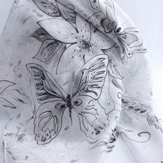 """Nouveauté foulard écharpe étole en soie peint main """" nuit de lune """""""