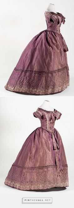 """Evening dress, 1850′s From the exhibition """"Hilos de Historia"""" at El Museo Nacional de Historia... - a grouped images picture - Pin Them All"""