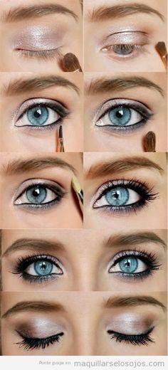 Tutorial maquillaje ojos rosa y negro para ojos azules