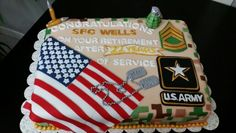 US Army retirement cake military / DOD / camouflage / digital / flag