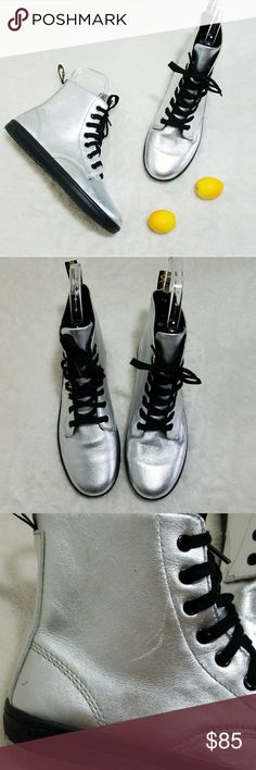 85aac13cf2d Dr. Martens Rare Metallic Silver Leyton Boot -Excellent used condition-  slight scuffing on