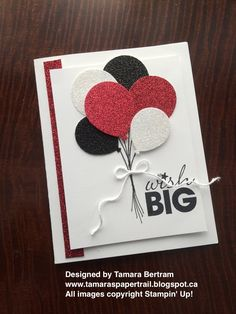 Handmade Cards; Handmade Birthday Cards; Disneyland Reveal; Disney Birthday Card; 2016 Occasions Catalogue; Balloon Celebration; Balloon Bouquet Punch; Stampin' Up!; Tamara's Paper Trail More