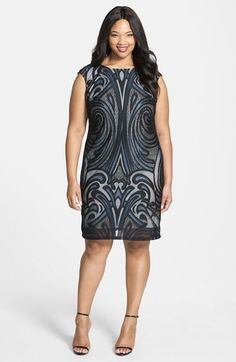 Julia+Jordan+Placed+Lace+Sheath+Dress+(Plus+Size)+available+at+#Nordstrom