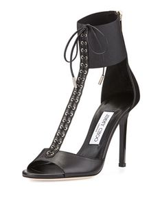 Mahine+Lace-Up+T-Strap+Sandal,+Black+by+Jimmy+Choo+at+Neiman+Marcus.