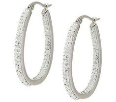 Steel by Design Stainless Oval Inside Outside Clear Crystal Hoop Earrings #SteelbyDesign #Hoop